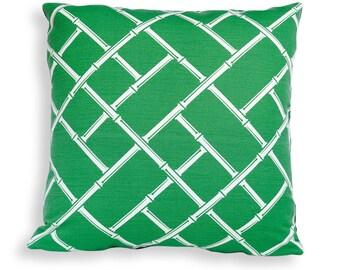 Bright Green and White Bamboo Lattice Print Reversible Pillow Cover - Jonathan Adler Fabric - Modern Geometric Décor