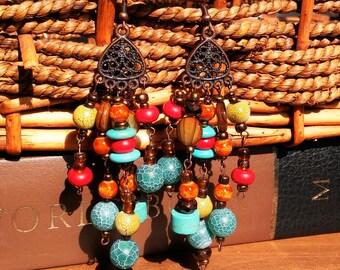 African style long dangle earrings