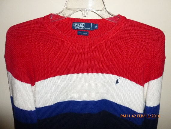 Ralph Lauren Polo Colorblock Striped Sweater Red White Blue
