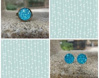 Druzy Earrings - Druzy Ring - Aqua Druzy Set - Jewelry Set 12MM Boho Jewelry - Druzy Jewelry - Glitter Jewelry