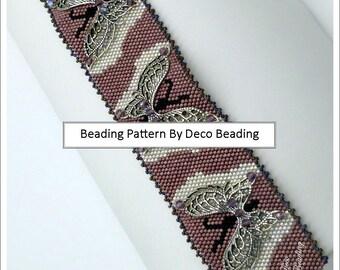 """Beading PATTERN. DIGITAL DOWNLOAD. Odd Count Peyote Pattern. Butterfly Bracelet Pattern. """"Embellished Butterfly"""" Bracelet. DecoBeading ."""