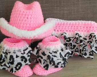 Baby Crochet Cowboy Hat, Ruffle Boots & Diaper Cover. Photo Prop 0-3, 3-6