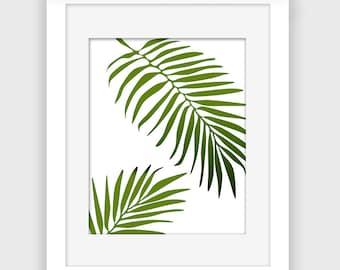 Palm leaf print, tropical wall art, summer wall decor, Beach printable, instant download digital print A108