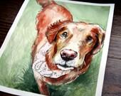 Personal/ Custom Dog Portrait -- Handmade Watercolor Portrait-- Grass Background