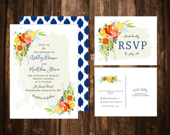 Citrus Floral Watercolor Wedding Invitations; Printable OR set of 25