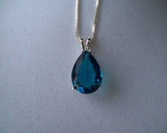 Created Dark Aquamarine Pear Pendant in Sterling Silver