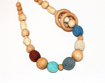 Multicolor Teething Nursing Breastfeeding Necklace for Babywearing Moms with Rings in Gray,Milk,Denim,Blue,Light Tan