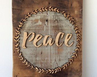 Peace Boxwood Barn Wood Wall Sign