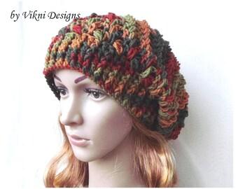Winter Crochet Womens Slouchy Hat, Fall Crochet Hat, Women Hat, Crochet Slouchy Womens Knit Beanie by Vikni Designs