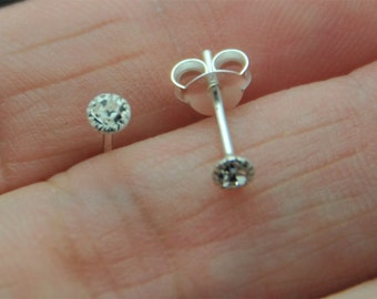 Tiny Sterling Silver 3mm round CZ Studs Earrings, Cartilage Earring, Dainty Earrings, Everyday jewelry