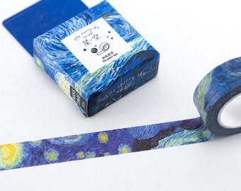 Van Gogh Starry Night Washi Tape - 10 metres washi tape - Decorative Paper Tape - Giftwrap tape - Scrapbooking tape - Printed Masking Tape