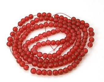 "Frosted Glass Bead Strand, Round, Fire Brick Red, 6mm, Hole: 2mm; about 140pcs/strand, 31"" #056"