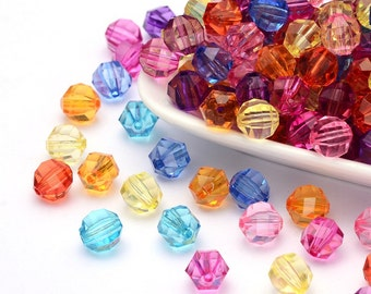 Transparent Acrylic Beads, Faceted, Round, Mixed Color, Qty. 60, 10mm in diameter, 10mm thick, hole: 2mm   #083
