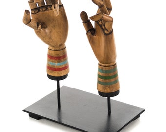 Pair of antique Articulated carved wood Hand sculpture on vertical stand