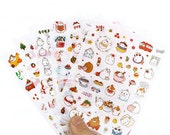silly round rabbit v.3 stickers set - diary deco sticker - 6 Sheets