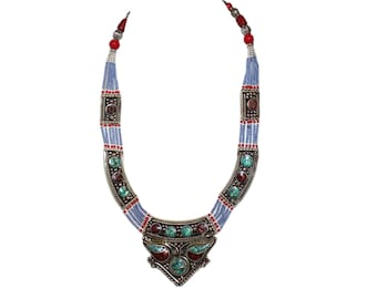 Coral Necklace Turquoise Necklace Nepalese Necklace Nepal necklace Tibetan Necklace Tribal Necklace Tibet necklace boho necklace N11