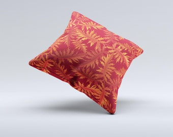The Vector Fall Red Branches ink-Fuzed Decorative Throw Pillow