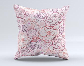 The Subtle Pink Floral Illustration ink-Fuzed Decorative Throw Pillow