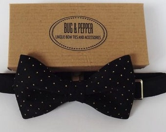 Black and Golden Polka Dots Pre-Tied Bow Tie / Bow Ties, Boys Bowties, Boys Bow Tie, Baby Bowtie