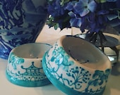 Chinoiserie Dog Bowl - Small Caribbean Blue copyright design  *** to add a name a personalization listing must also be purchased***