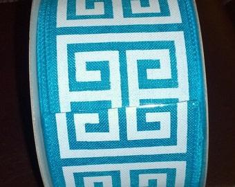 Aqua Blue 2.5 Inch Wired Ribbon with White Greek Pattern 10 yd Roll