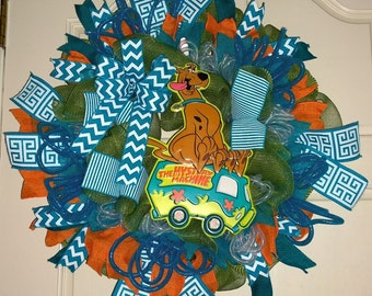 Scooby Doo on the Mystery Machine Mesh Wreath