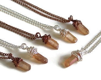 Peach Quartz Boho Pendant Necklace, Quartz Crystal Necklace