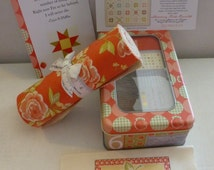 Quilt Kit,Frivols #6 Collectors Tin with Strawberry Fields Revisited by Fig Tree& Co Moda, Fast Shipping K165