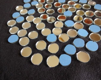 100 pcs Mirrors for Craft , Round Mirrors ,Glass Mirrors / Shisha Mirrors - 13mm to 14 mm