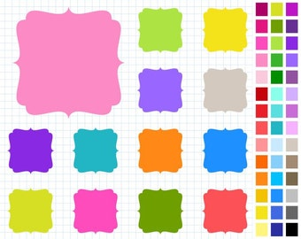 Rainbow Digital Frames Pack, Scrapbooking Labels Digital Clipart, 43 Frames, Personal And Commercial Use - Instant Download