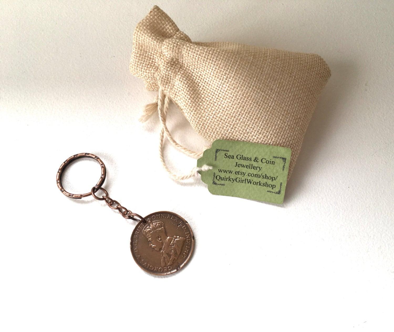 1932 Australian Penny Keychain 85th Birthday Gift Aussie Present Retirement Keyring