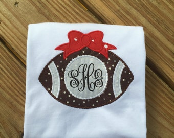 Monogrammed Football shirt with bow