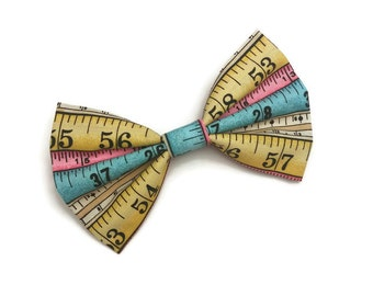 Tape Measure Bow • Cotton Hair Bow • Colorful Tape Bow • Measuring Tape Gift • Gifts For Girls • Pastel Hair Bow • Back To School Bow •