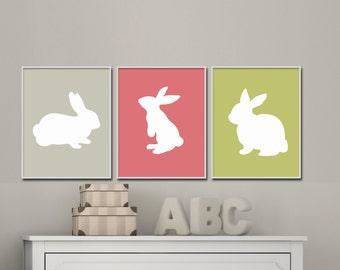 Nursery Girls Rabbit Wall Art Print, Bunny Print, Baby Girl Nursery Wall Decor Print-Custom Colour- N576,577,578 - Unframed
