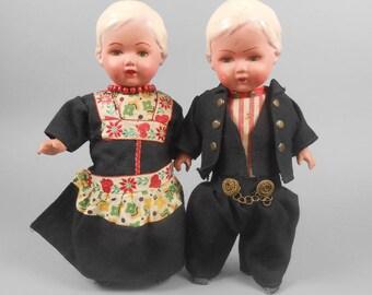 Vintage Pair of Composition Dolls Rozetta Amsterdam Dolls Holland Dolls Dutch Souvenir Dolls