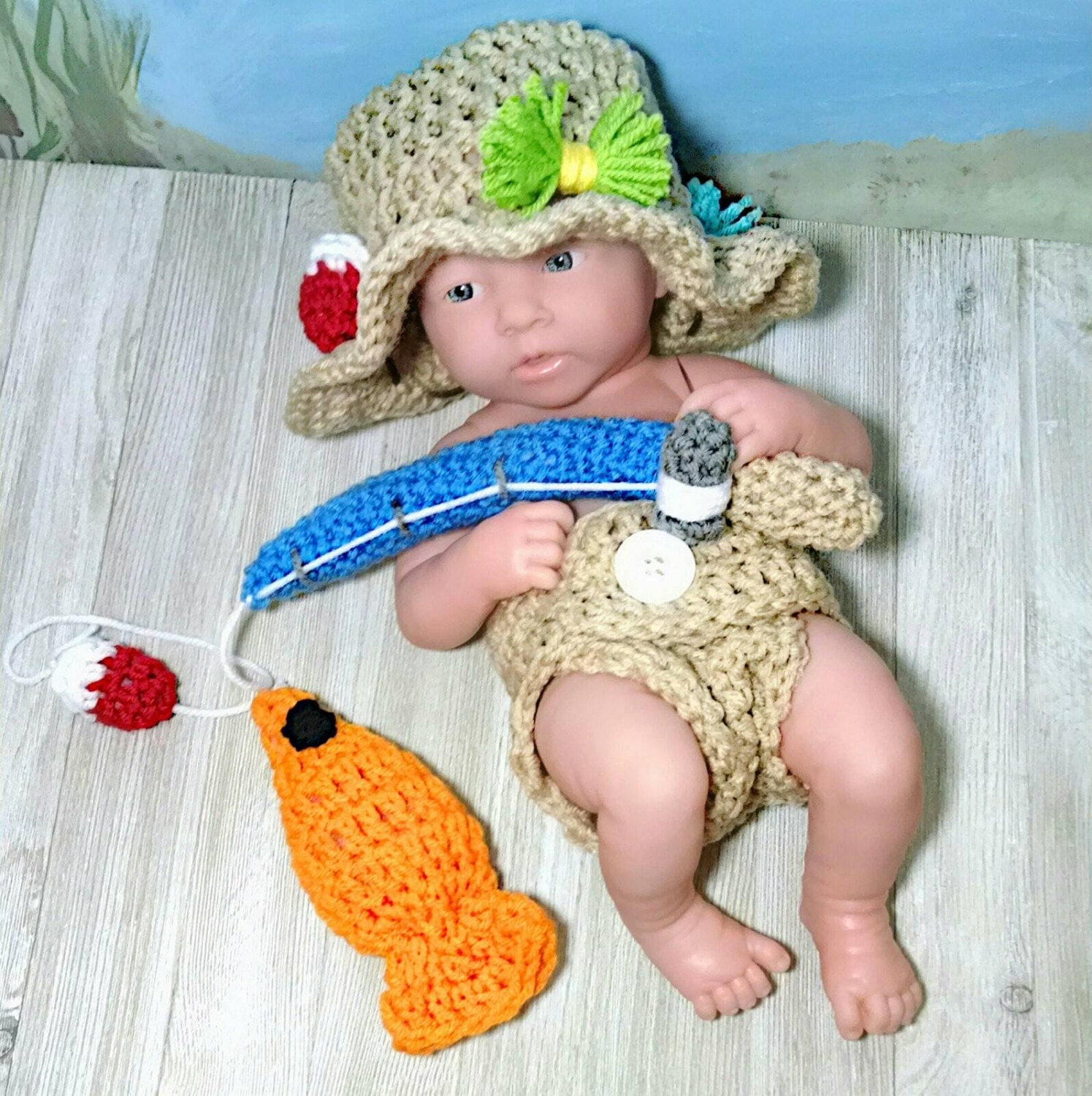 Crochet newborn fishing outfit fly fishing hat baby boy for Baby fishing outfit