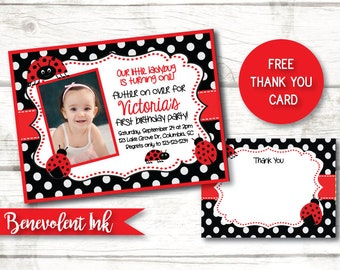 Ladybug Invitation - Ladybug First Birthday Invitation - Ladybug Birthday Party - 1st Birthday Party Invite - Girls Birthday Invitations