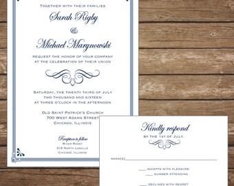 Printable Classic Wedding Invitation with RSVP Card, Navy - Digital File