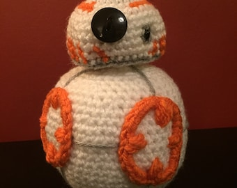 Star Wars BB 8 inspired crochet droid doll, plushie, stuffed toy