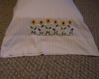 Black eyed Susan embroidered pillowcases