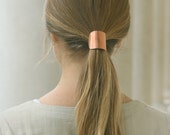Rustic copper hair cuff tie - size large boho chic hair accessories metal pony tail holder woman gift girl fashion contemporary hair jewelry