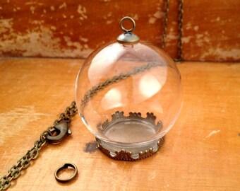 Bronze Glass Globe Necklace