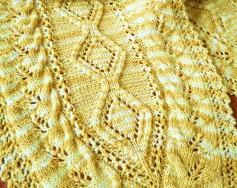 Hand Made Beaded Lace Knit Scarf with Variegated Gold Wool
