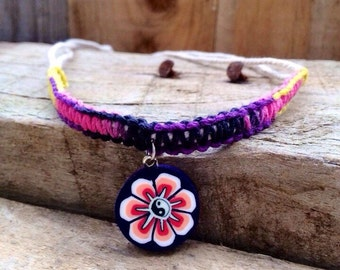 Hemp Choker, Rainbow Hemp and White Cotton Cord Choker with Fimo Flower and Yin Yang Bead