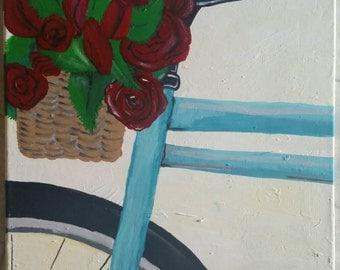 Roses in bike basket