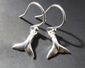 Whale Tail earrings , solid sterling silver.