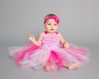 Flower girl dress - Tulle flower girl dress - Pink Dress - Tulle dress - Infant/Toddler - Pageant dress - Princess dress -Pink tutu dress