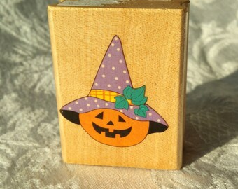 Jack O Lantern with hat Rubber STamp, Canadian Maple Collections, Jack O Lantern STamp, Halloween Stamp, Halloween Scrapbook Stamp