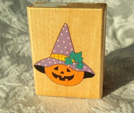 Jack o lantern with hat rubber stamp canadian maple