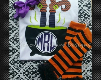 Baby Girl's Halloween Witch Cauldron Onesie Gift Set / Halloween Monogram Witch Legs Shirt Set / Girl's Monogram Halloween Outfit
